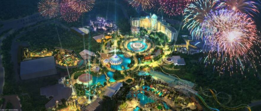 Sketch of the new park which will contain themed lands, and hotels, restaurants, and shops.
