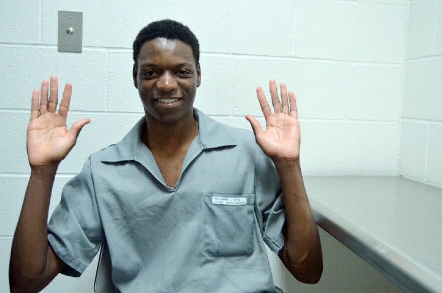 Joshua Williams poses for a photo inside the Eastern Reception, Diagnostic and Correctional Center in Bonne Terre, Missouri in 2016.