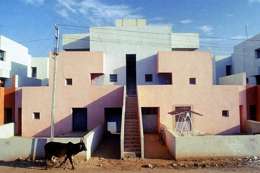 Balkrishna Doshi created the Life Insurance Corporation Housing building in Ahmedabad, India, in 1973.