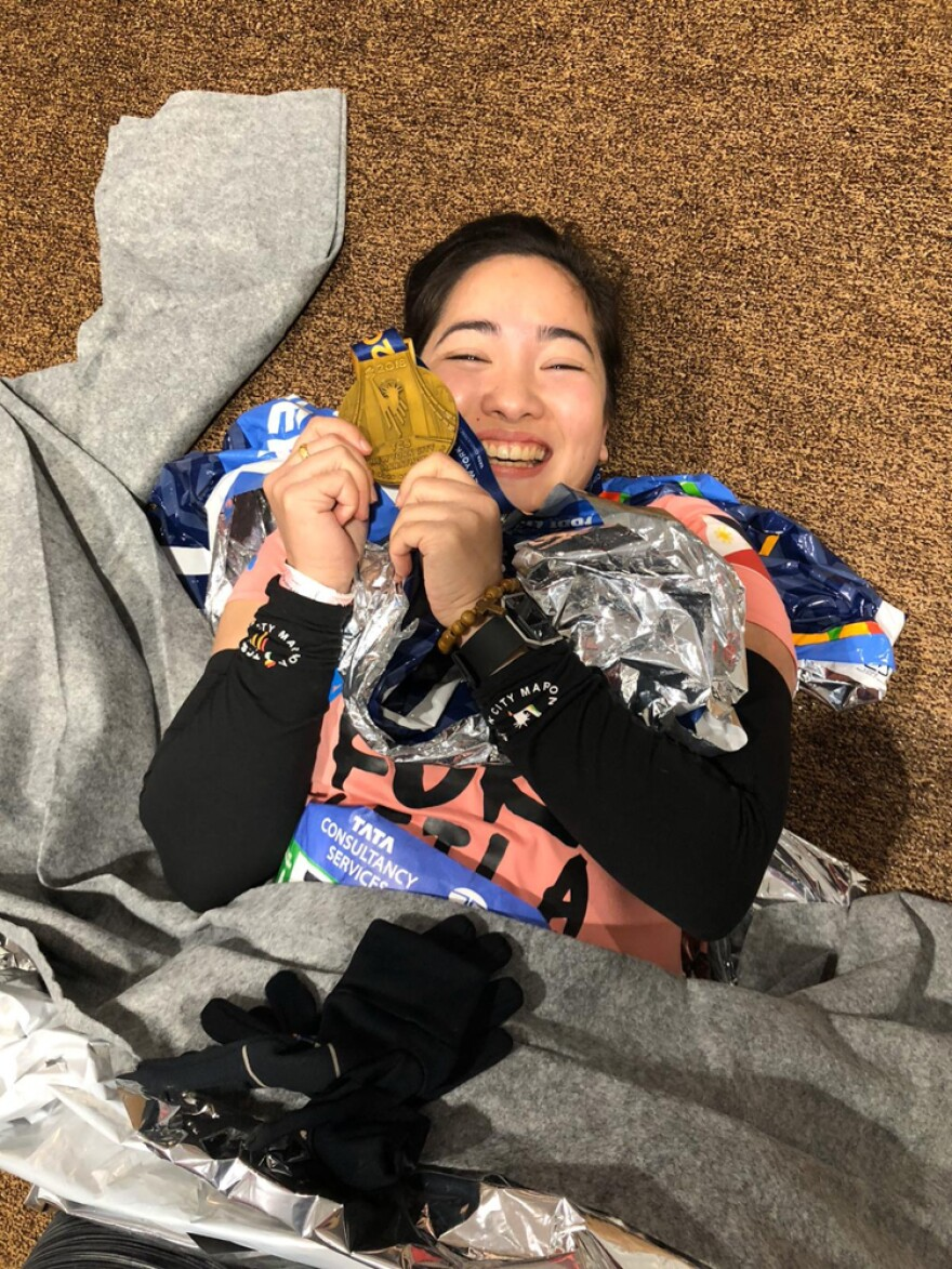 Villamer at the end of the New York City Marathon in 2018. She was injured during it, but says she got back up to make sure she finished the race.
