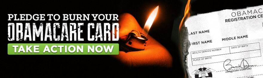 "A screenshot from the <a href=""http://www.freedomworks.org/"">FreedomWorks website</a>, which is urging citizens opposed to the Affordable Care Act to opt out of the law's requirement to have insurance. It asks Americans to symbolically ""burn your Obamacare card."" In reality, no such card will exist."