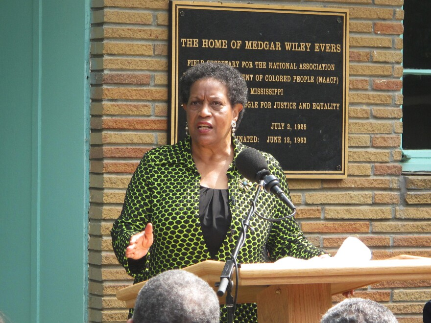 Myrlie Evers-Williams retells the moments before her husband's 1963 assassination during a memorial ceremony at the Evers family's former home.