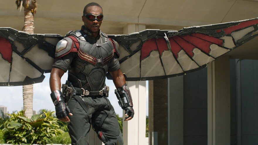 Anthony Mackie as Falcon in <em>Captain America: Civil War</em> — one of three black superheroes who play a major part in the movie.