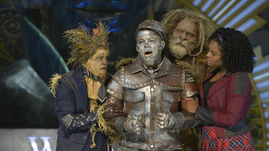 <em>The Wiz Live!</em> featured (from left) Elijah Kelley as Scarecrow, Ne-Yo as Tin-Man, David Alan Grier as Lion and Shanice Williams as Dorothy.