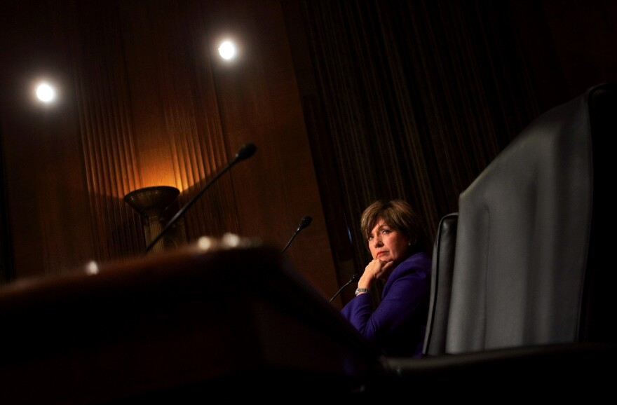 """Gov. Kathleen Blanco listens to opening statements before testifying before the Senate Finance Committee on Sept. 28, 2005, in Washington. Blanco asked Congress for help in rebuilding her devastated state, saying Hurricanes Katrina and Rita """"knocked us down but they did not knock us out."""""""