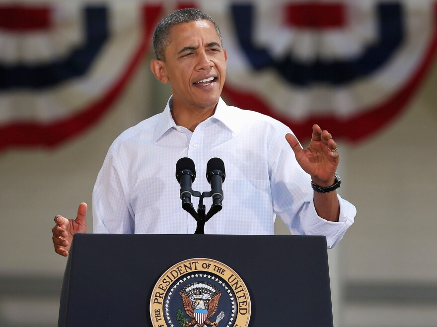 President Obama is on record as opposing superPACs for normalizing gigantic donations, but his campaign has hesitantly decided to accept donations from such groups. He is shown above speaking during a campaign stop in Oskaloosa, Iowa, last week.