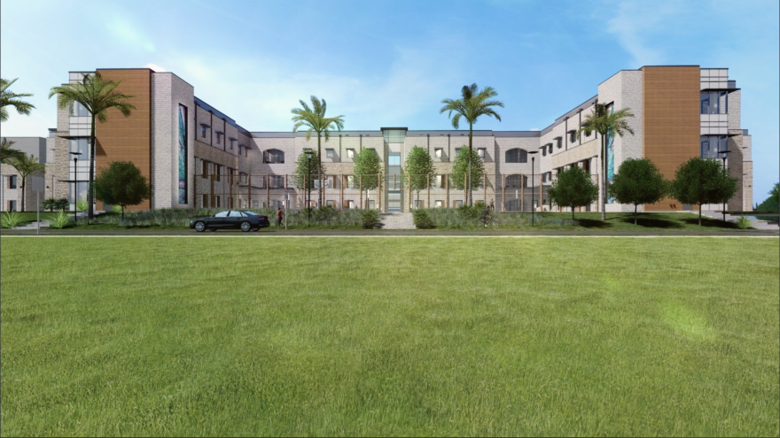 An artist rendering of the San Antonio State Hospital.