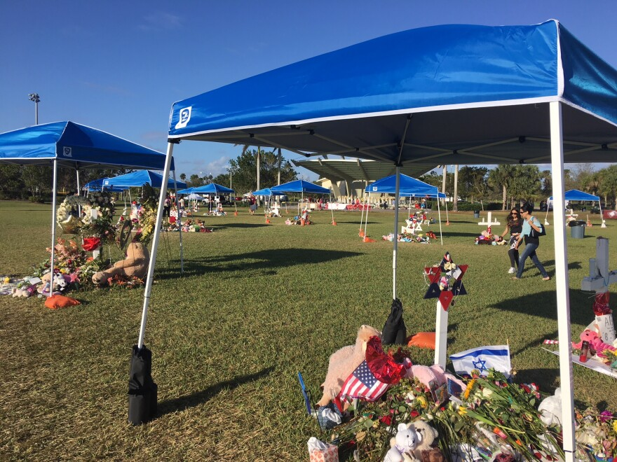 Memorials to the 17 victims of the mass shooting at Marjory Stoneman Douglas High in Pine Trails Park in Parkland.
