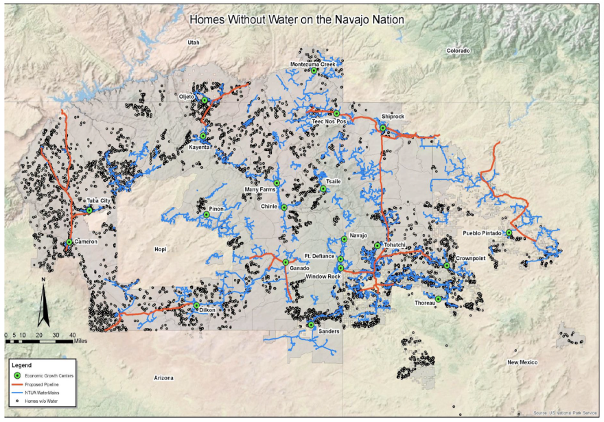 A map shows dots, representing homes without running water on the Navajo Nation.