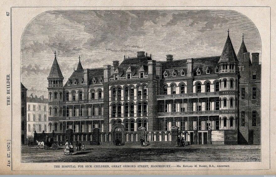 The Hospital For Sick Children on Ormond Street was the first pediatric hospital in London, founded thanks to Charles Dicken's speeches and writings.