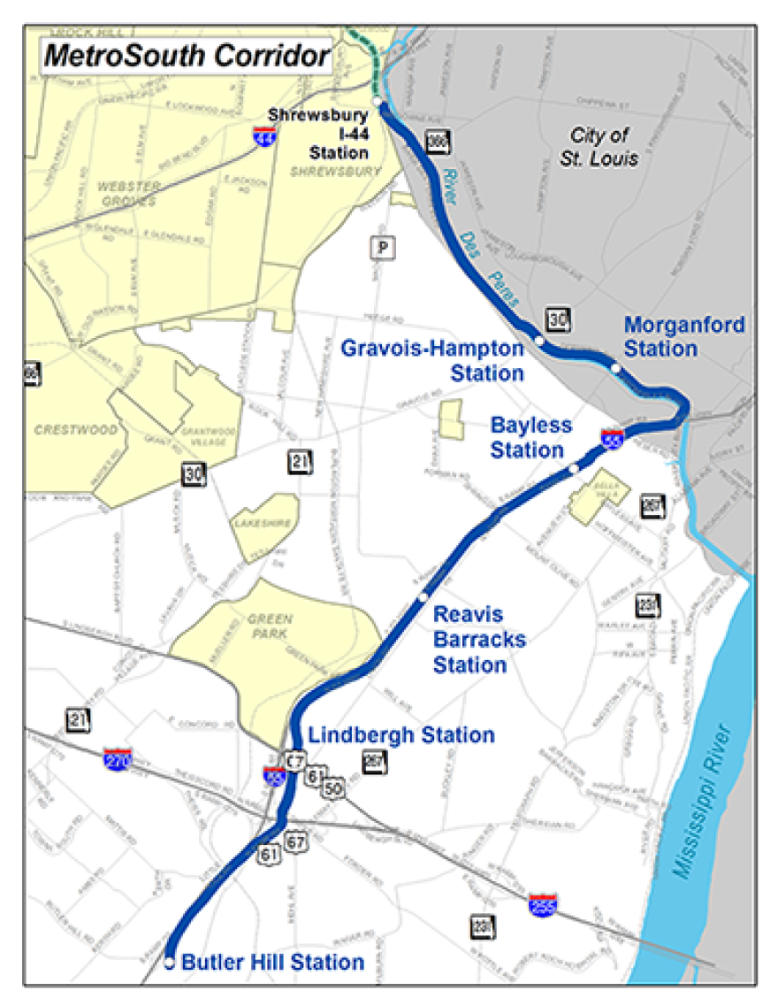 St. Louis County's southern light rail option.