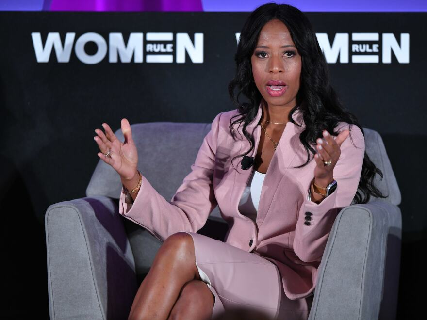 Then-Rep. Mia Love, R-Utah, speaks during Politico's Women Rule Summit in Washington, D.C., on Dec. 11, where she advised her party to make women feel more included with its policy focus.