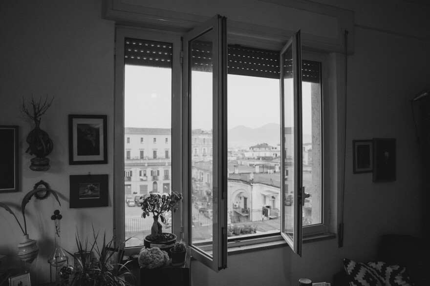 A view of Mount Vesuvius from Cipriano's living room in Naples.