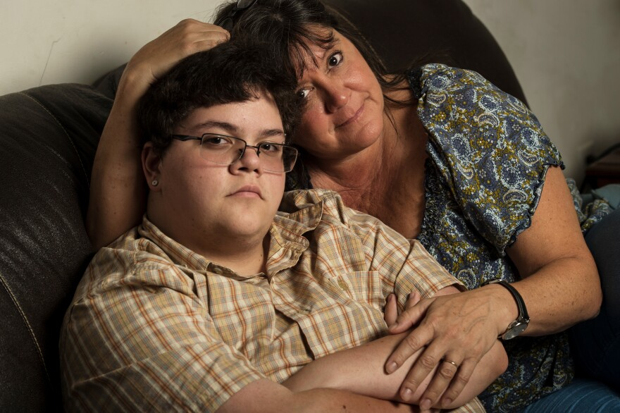 Gavin Grimm, who is now 20, with his mom Deirdre Grimm a couple of years ago, in Gloucester, Va. The transgender teen sued the Gloucester County School Board in 2015, after it barred him from using the boys' bathroom.