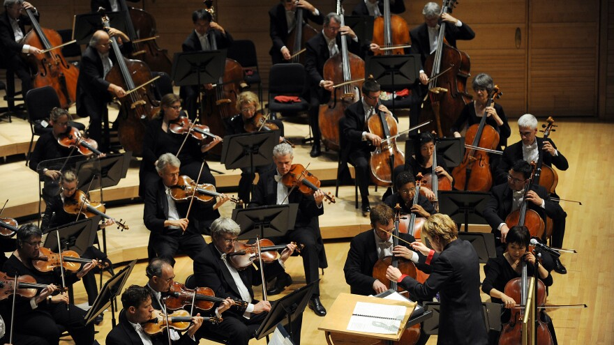 Marin Alsop directs the Baltimore Symphony Orchestra at the Music Center at Strathmore, in North Bethesda, Md.