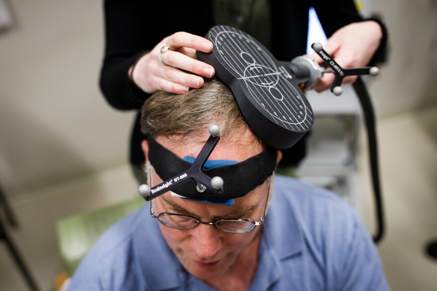 Author and autism activist John Elder Robison took part in a study of TMS (transcranial magnetic stimulation) at Boston's Beth Israel Hospital in March.