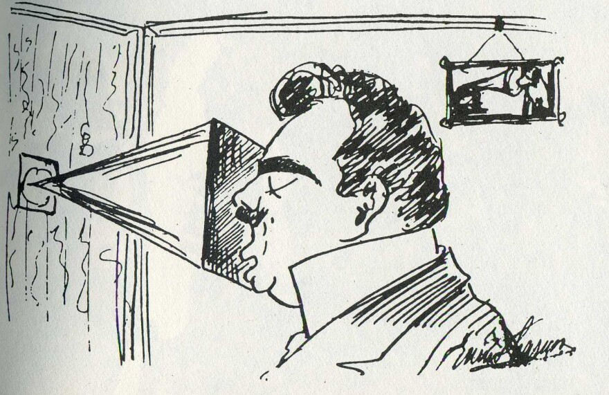 Sketch of and by Enrico Caruso, singing into a gramophone.