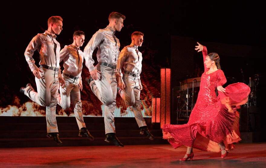 "<em>Riverdance</em> began as an act in the 1994 Eurovision Song Contest. Above, ""Firedance"" from the 25th anniversary production."