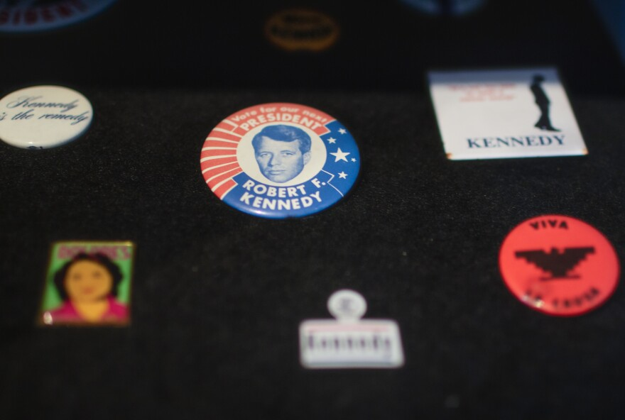 Campaign memorabilia is on display outside the library of the Robert F. Kennedy Community Schools.