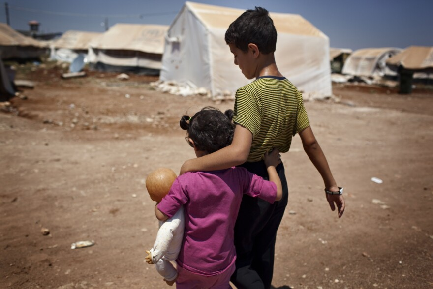 Syrian refugee children in the Bab al-Salam refugee camp in Azaz in July. Turkey sealed off the border in this area after Islamists took over Azaz.