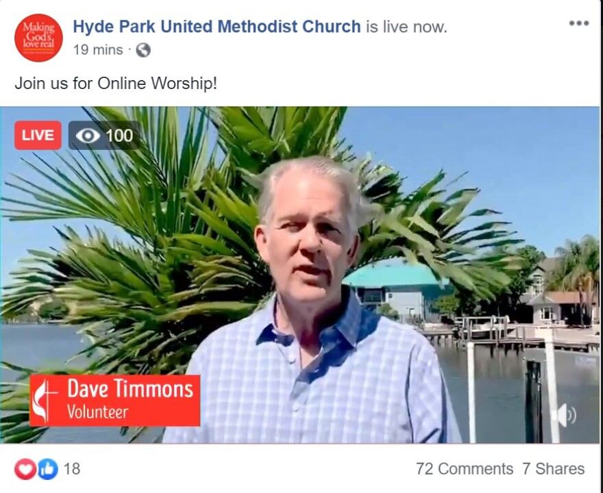 Man named Dave Timmons in blue shirt with gray hair gives call to worship outside