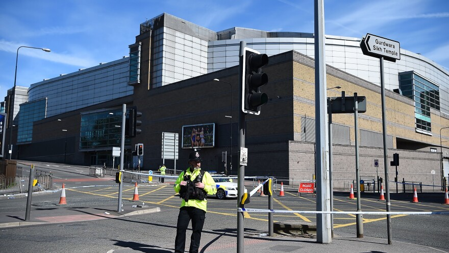 The Manchester Arena on May 23, 2017, one day after a bombing just outside its entrance which killed 22 and injured dozens. The arena is scheduled to reopen Sept. 9, 2017.