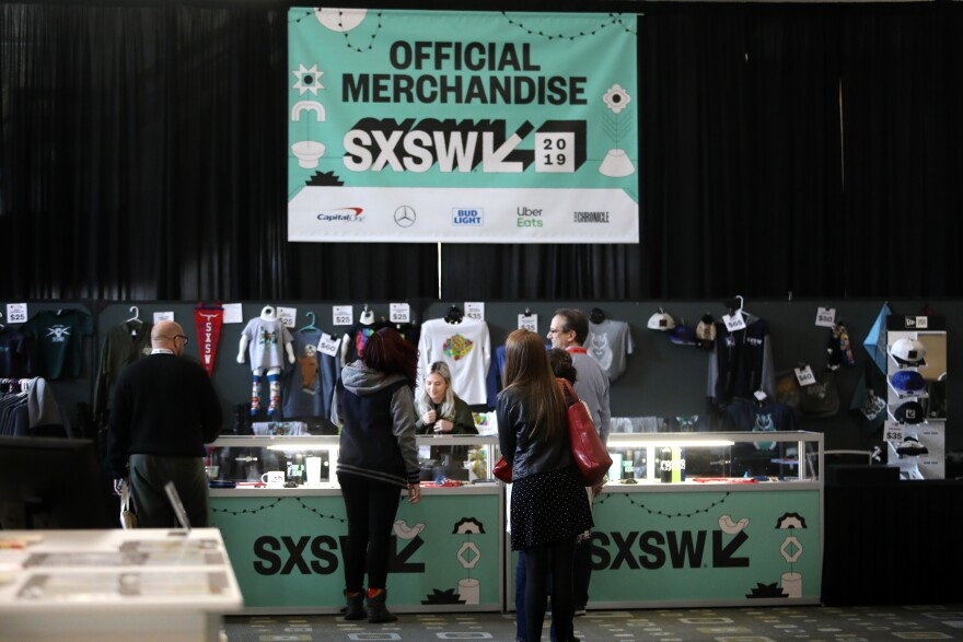 The official merchandise booth at this year's South by Southwest festival.
