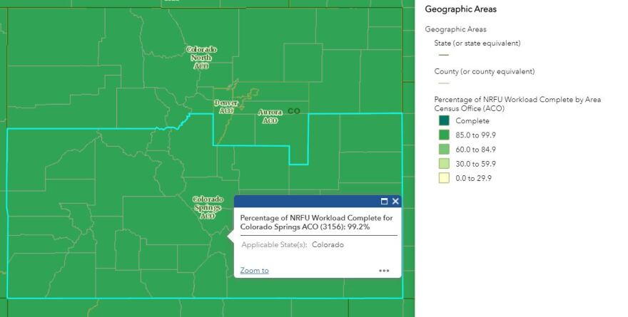 A dashboard of the regional completion of cases in Colorado. All 4 colorado regions are above 99% done. Colorado South is highlighted on the dashboard and is 99.2% complete as of 10/13.