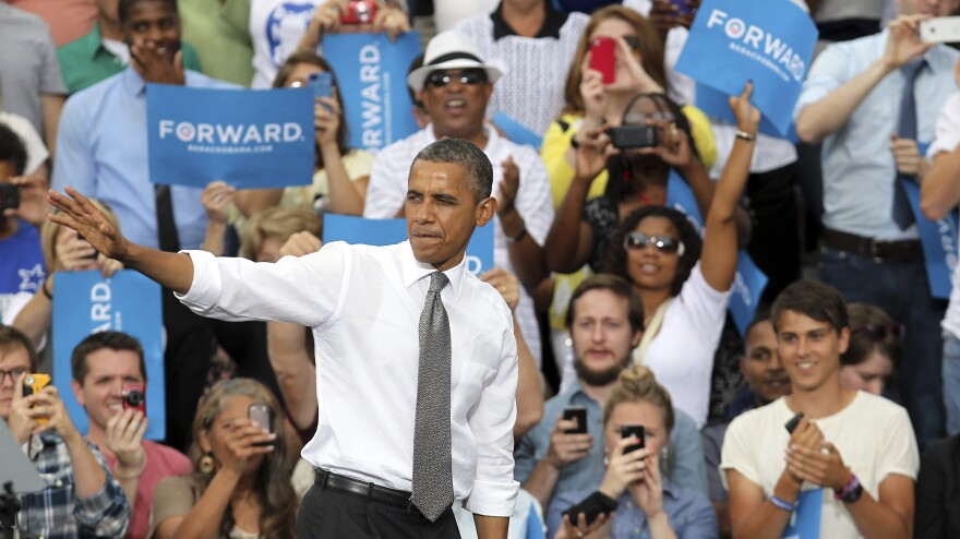 President Obama after speaking Monday in Columbus, Ohio.