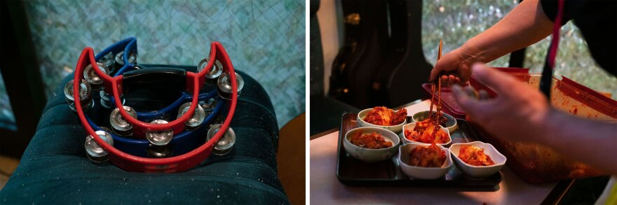 At Cosmos Karaoke, tambourines sit on a stool ready for use during group singalongs. Minza Lee dishes up bowls of kimchi to serve to customers.