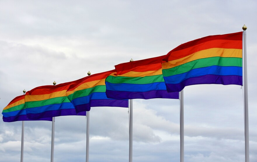 Several pride flags lined up in a row and blowing in the wind.