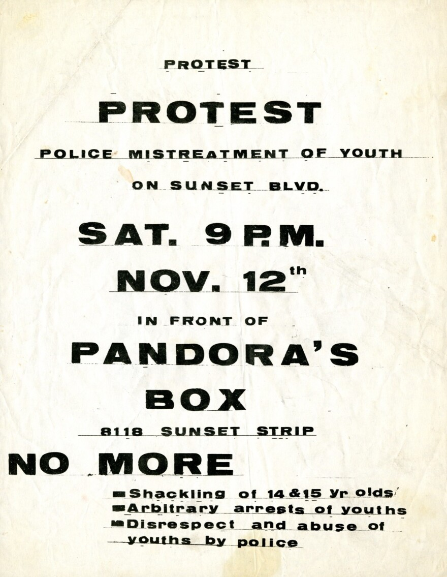 A flier distributed in advance of the Nov. 12, 1966, rally against curfew laws on the Sunset Strip.
