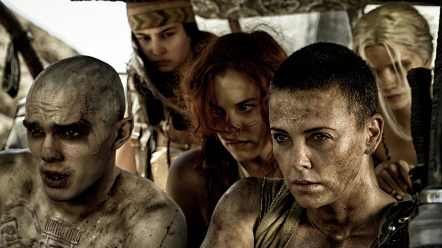 Furiosa (played by Charlize Theron, front right) fights to liberate the wives of a tyrannical warlord in <em>Mad Max: Fury Road.</em>