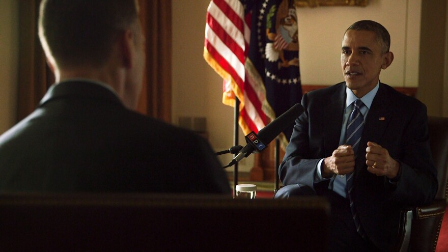 NPR's Steve Inskeep interviews President Obama at the White House on Thursday.