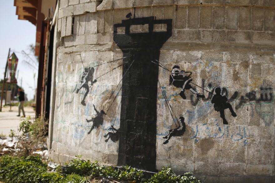 A mural on a wall in Beit Hanoun.