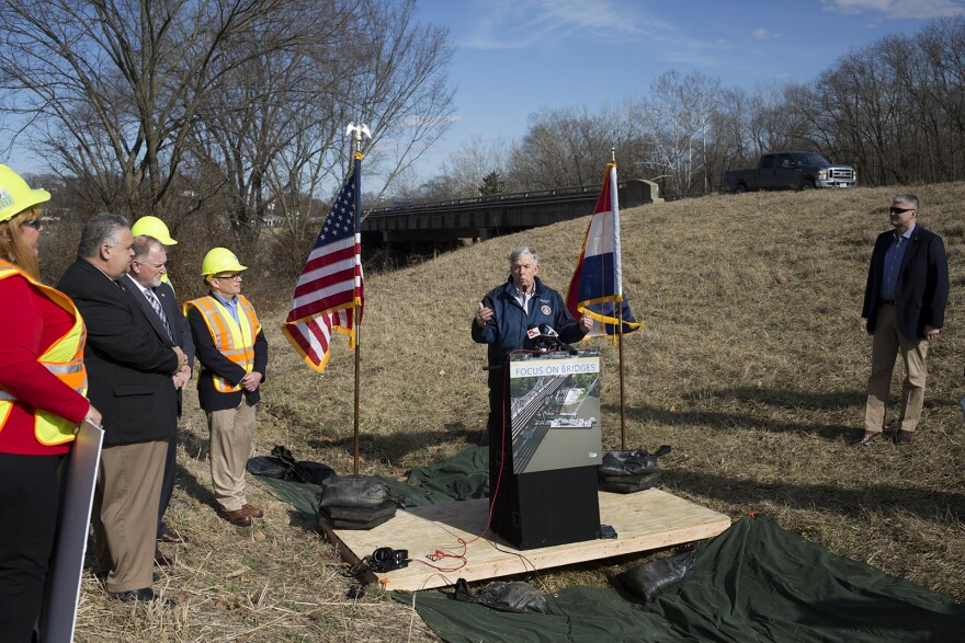 Gov. Mike Parson answers questions from reporters on Feb. 14, 2019, at a press conference near Fenton about a bridge repair plan.