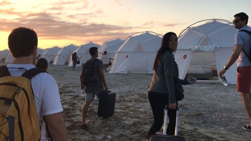 Festival attendees wound up dragging their luggage to tents — and that's only one of the indignities documented in the Netflix film <em>Fyre</em>.