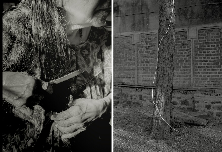 """Left: Hirve's grandmother combs her hair. Right: Documenting the area around her grandparents' house. """"I couldn't see where the wire was coming from or leading to, but it felt like a thread of hope,"""" Hirve says."""