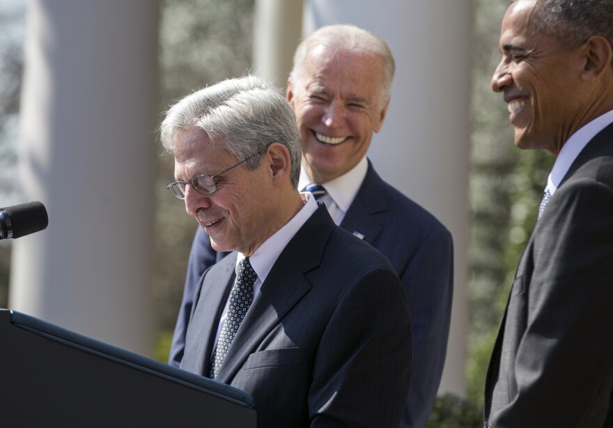 Merrick Garland gives remarks following the announcement of his nomination to the Supreme Court in the Rose Garden of the White House.