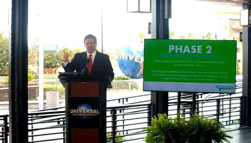 Gov. Ron DeSantis announced Phase 2 of Florida's reopening during the coronavirus pandemic takes place Friday.