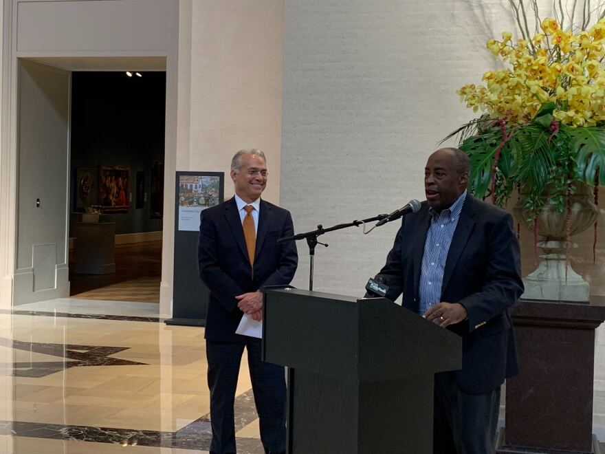Museum director Brent Benjamin and Ronald Ollie, whose gift of 81 pieces by African American artists stands as a highlight of Benjamin's tenure.