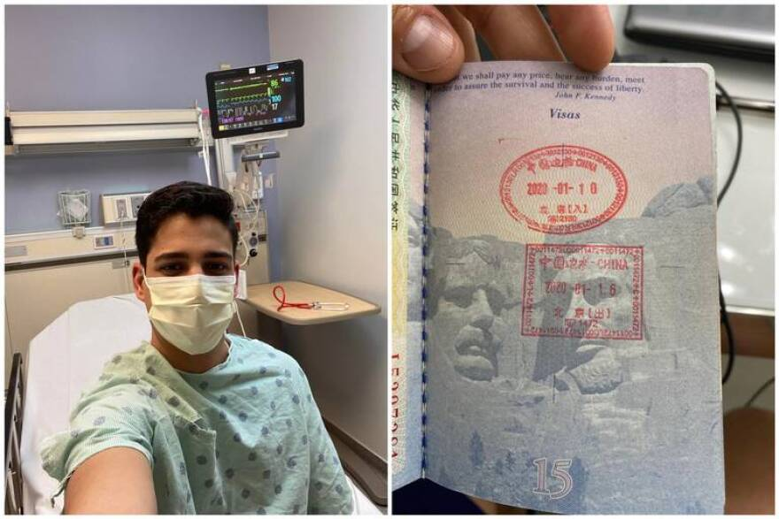 On the left, Osmel Martinez Azcue takes a selfie of himself at Jackson Memorial Hospital while wearing a surgical mask. On the right, a photo of his passport stamped by Chinese authorities from a recent trip.
