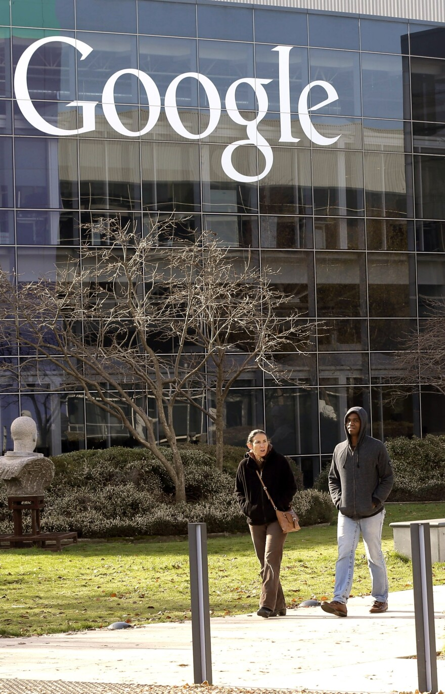 A Google sign at the company's headquarters in Mountain View, Calif. Google is launching a two-week-long patent marketplace next month, where sellers can name their own price.