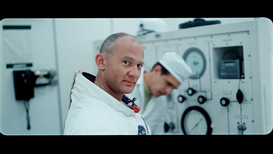 Buzz Aldrin is pictured in a still from <em>Apollo 11, </em>a new documentary that unearthed archival film and audio from the first moon landing.