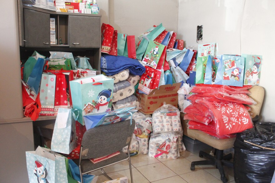 Presents were donated to children waiting at the border in Matamoros, Mexico.