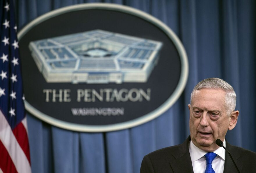 US Defense Secretary Jim Mattis holds a press conference at the Pentagon in Washington, DC.