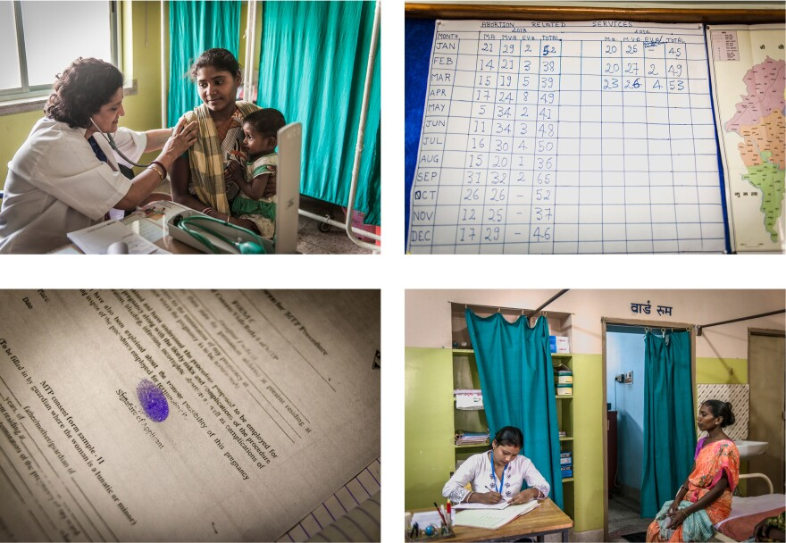 Clockwise from top left: Dr. Simmi Mahesh examines a patient. A chart shows the number of abortions performed at the clinic. Illiterate patients sign the consent form with a thumbprint. Palo Khoya waits with the doctor's assistant.