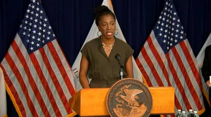 In this file photo, Illinois Department of Public Health Director Dr. Ngozi Ezike addresses the news media at a COVID-19 news conference in Chicago. On Thursday, Ezike answered COVID vaccine questions from East St. Louis residents during a virtual event.
