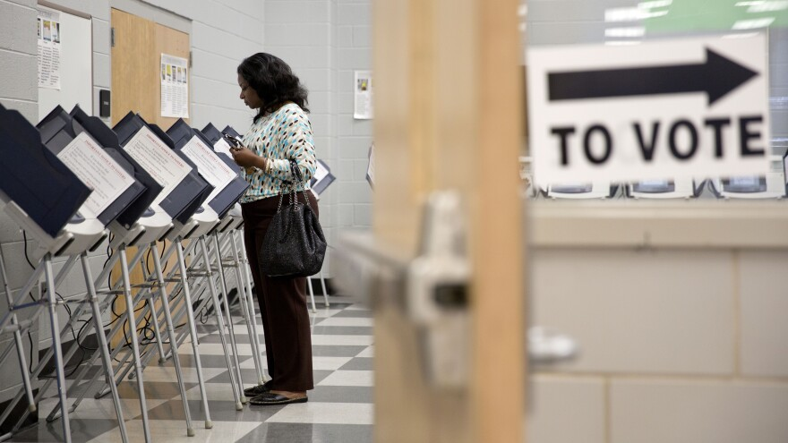 A voter casts her ballot at a polling site for Georgia's 2014 primary election in Atlanta.