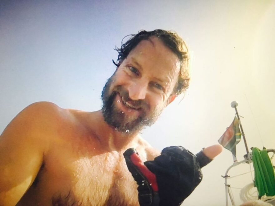 However rough the going on the open water, it's never too rough to throw up a shaka sign, as Bertish attests in this midvoyage selfie.